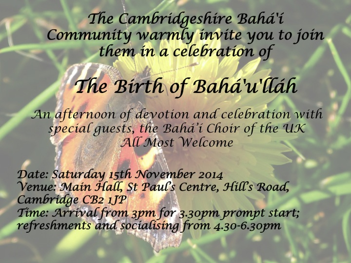 Birth of Baha'u'llah Invitation 2014